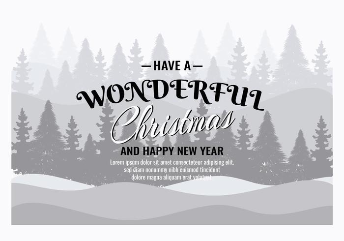 Illustration de fond de Noël gratuite avec typographie vecteur