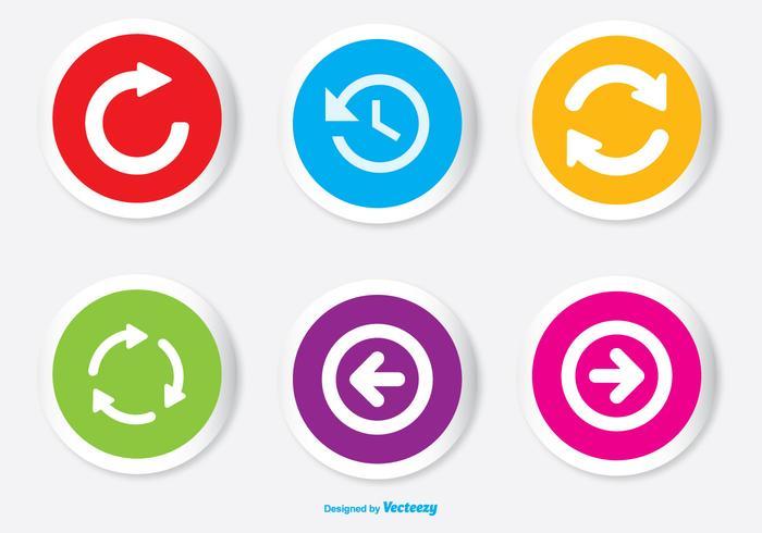 Assortiment de boutons de couleurs colorés Set d'icônes vecteur