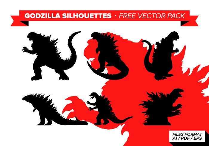 Godzilla silhouette pack vecteur gratuit