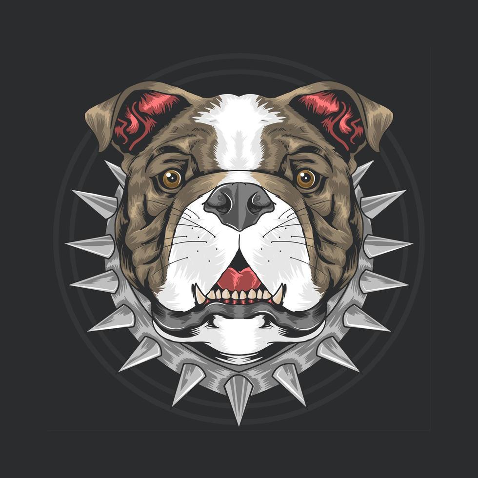 tête de chien de taureau avec collier à pointes vecteur