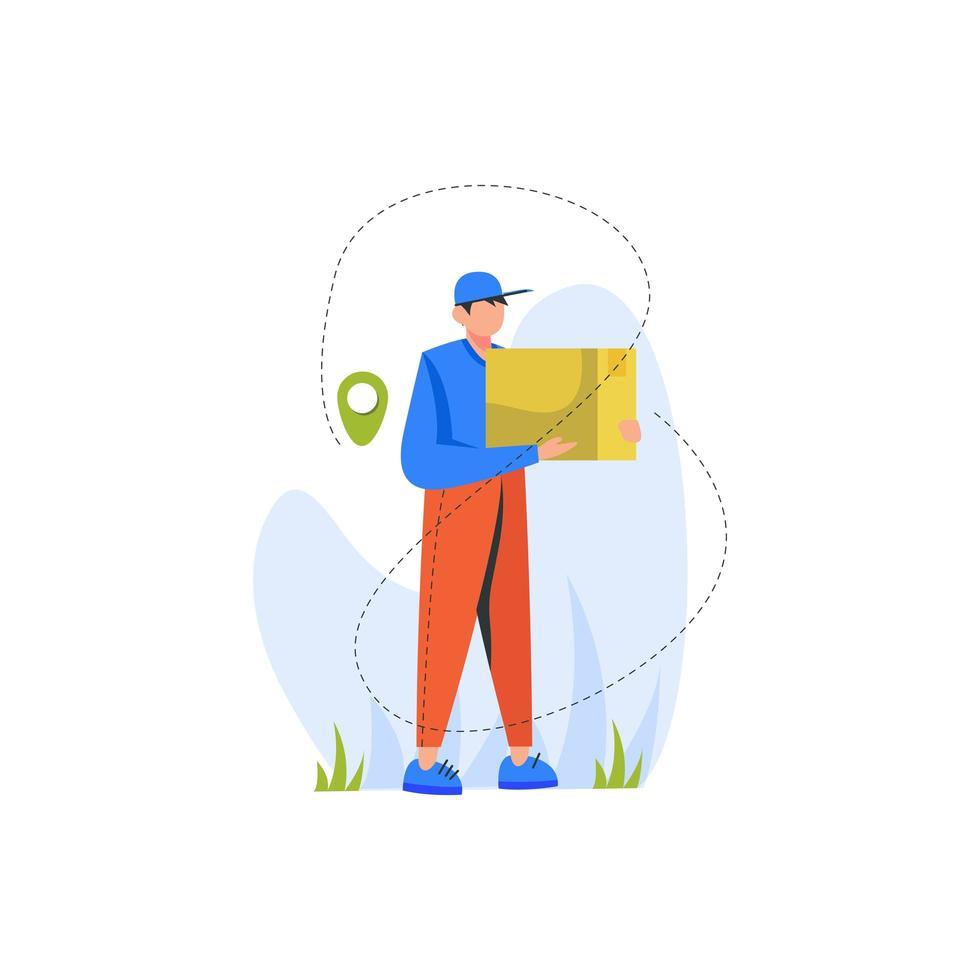 coursier marchant avec paquet pour la livraison vecteur