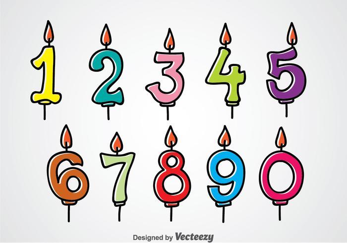Numéro d'anniversaire Bougies vecteur