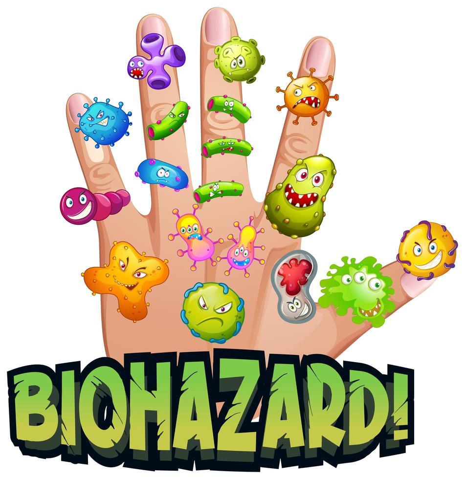 risque biologique avec des virus sur la main de l'homme vecteur
