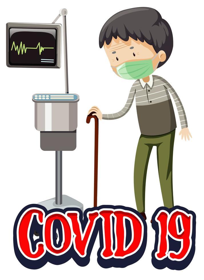 Thème Covid-19 avec vieil homme à l'hôpital vecteur