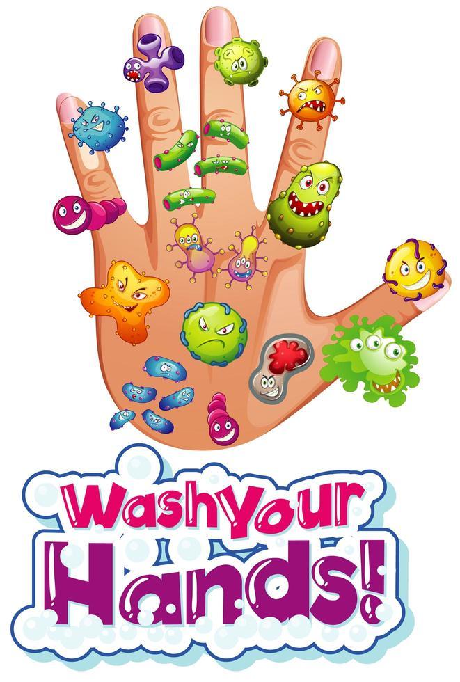 cellules de coronavirus sur la main de l'homme vecteur