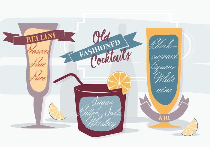 Fond de vignerons à l'ancienne à cocktails antiquités vecteur