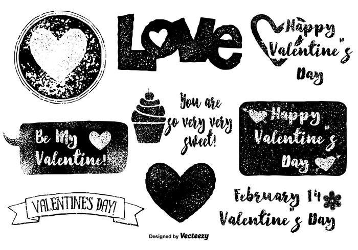 Vecteurs de la Saint Valentin du grunge vecteur