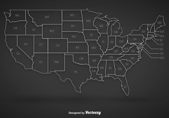 Aperçu des contours de United States vecteur