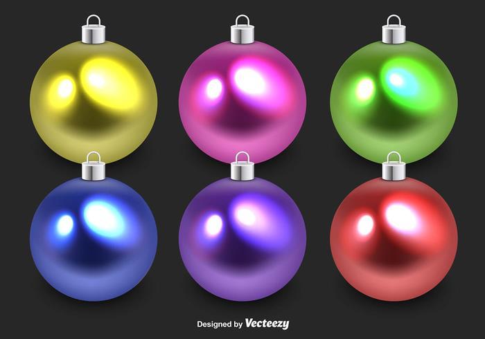 Sphères de Noël en verre coloré vecteur