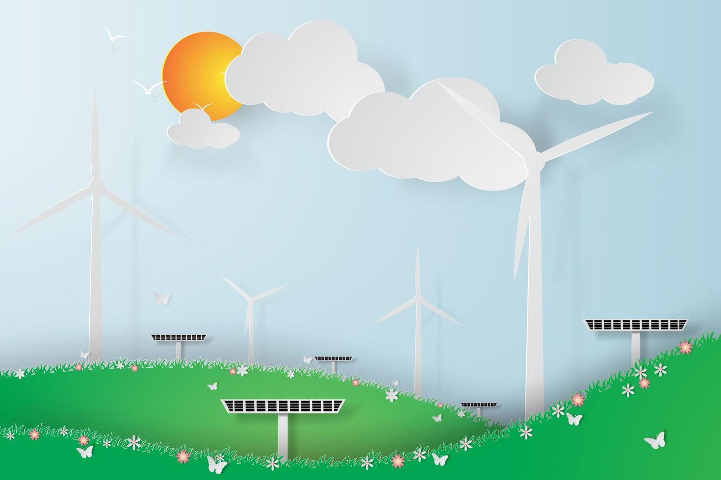 panneaux d'énergie solaire éolienne verte vecteur