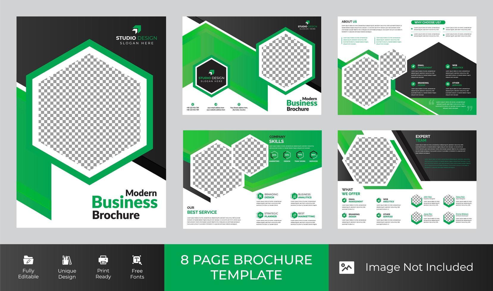 Conception de modèle de brochure d'entreprise de 8 pages vecteur