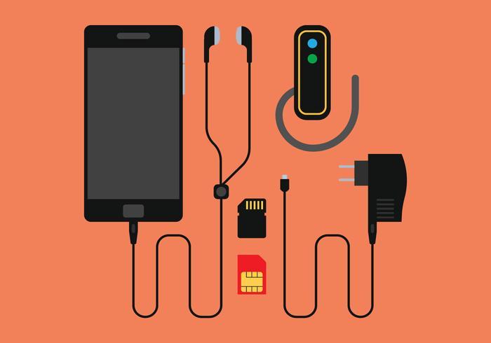 Ensemble vectoriel de chargeur téléphonique
