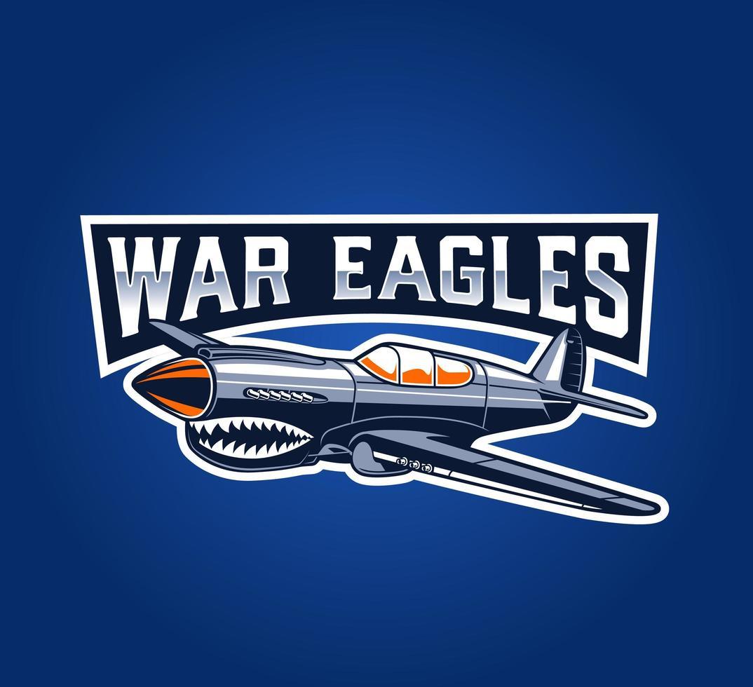 emblème d'avion de guerre classique sur bleu vecteur