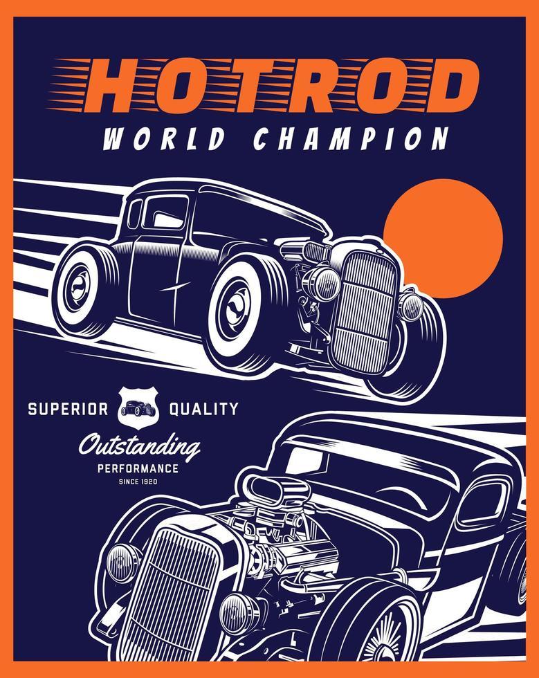 affiche de hot rod bleu et orange vecteur