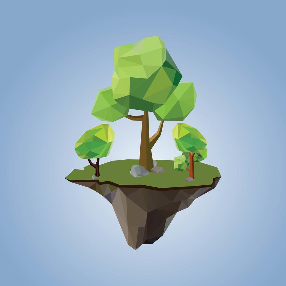 arbres géométriques polygonaux bas et île vecteur