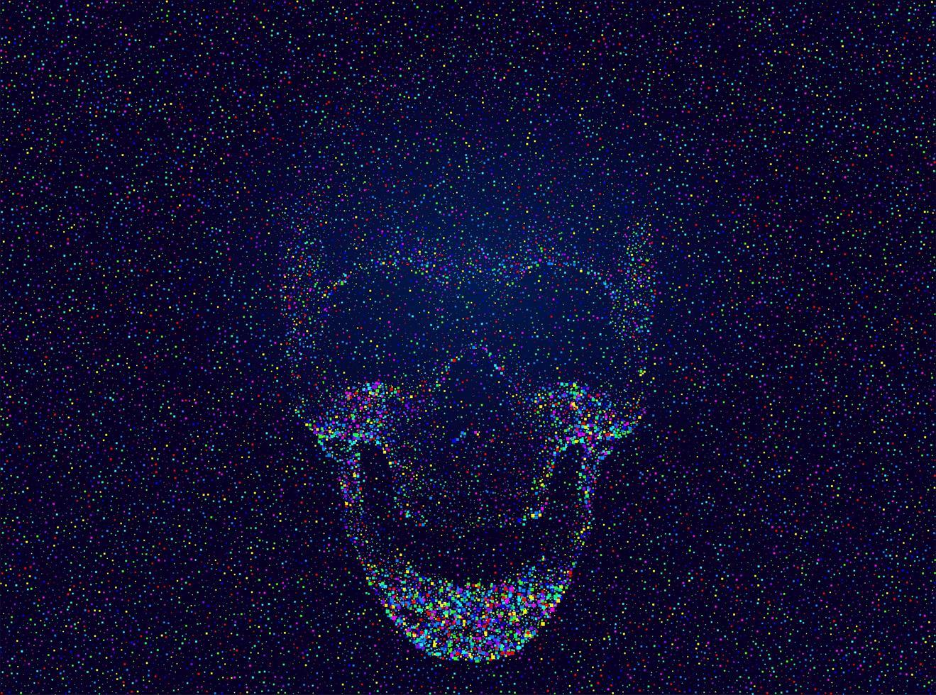 crâne glitch multicolore effrayant vecteur