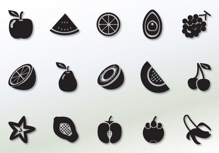 Icônes de vecteur de fruits solides