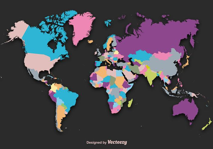 Carte graphique de Silhouette de carte du monde vecteur