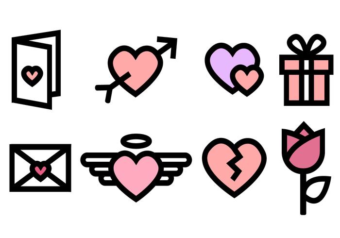 Icônes gratuites de la Saint-Valentin vecteur