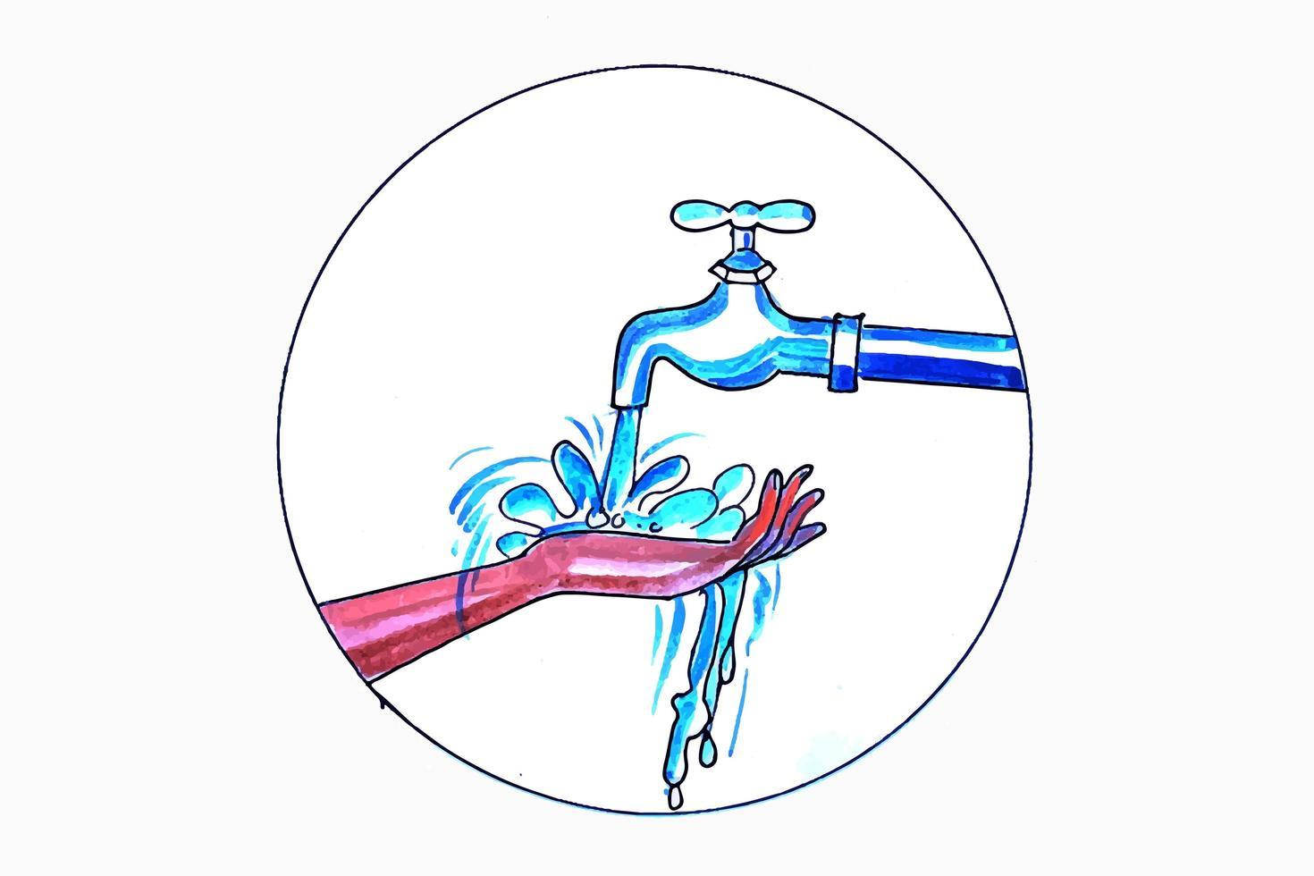 main sous le robinet d'eau vecteur