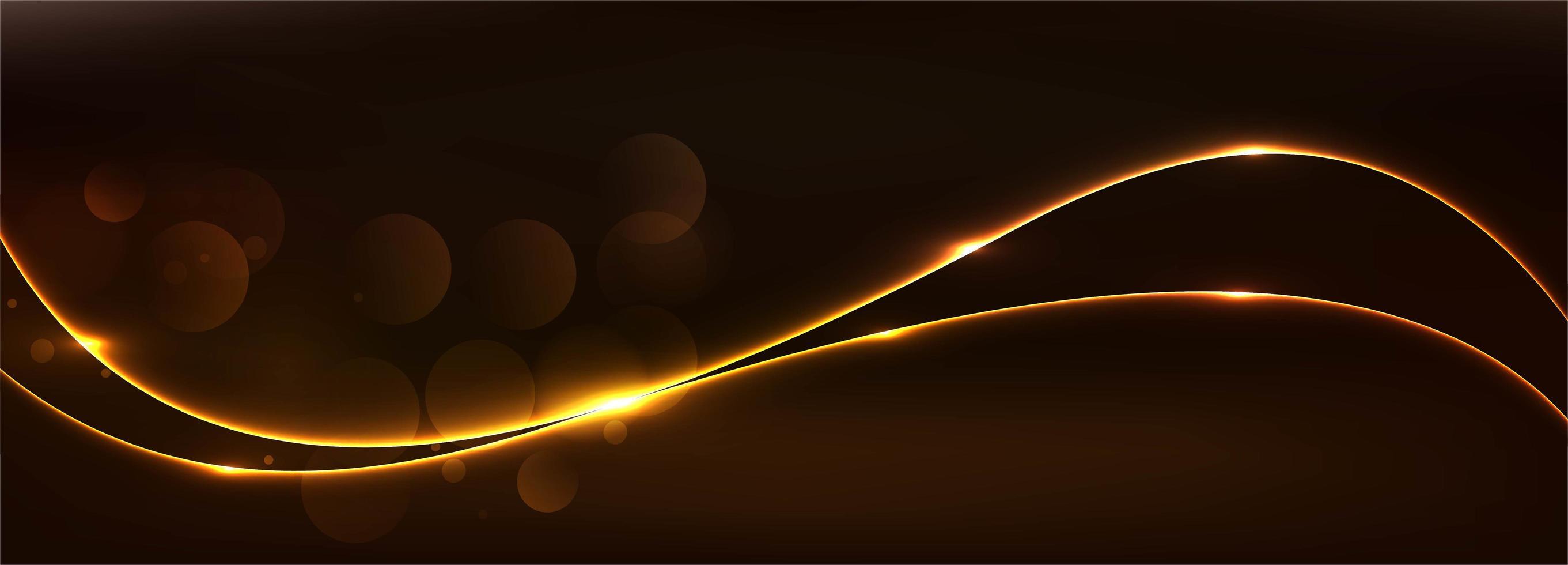 bannière abstraite vague rougeoyante dorée vecteur