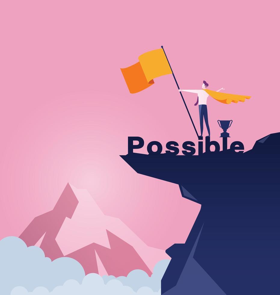 homme affaires, tenant drapeau, sur, sommet montagne vecteur