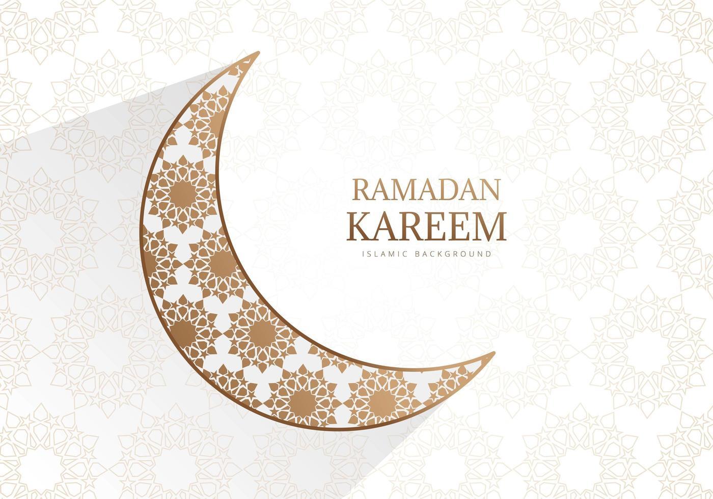 croissant de lune doré orné de ramadan kareem design vecteur