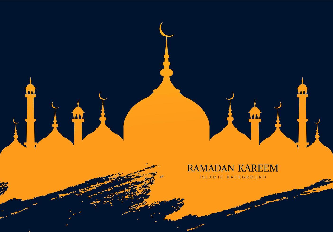 ramadan kareem mosquée silhouette avec trait grunge bleu vecteur