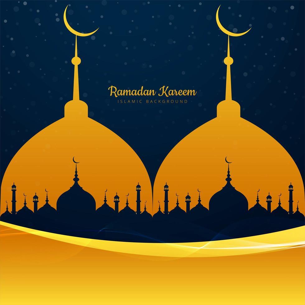 mosquée ramadan kareem avec forme de vague vecteur