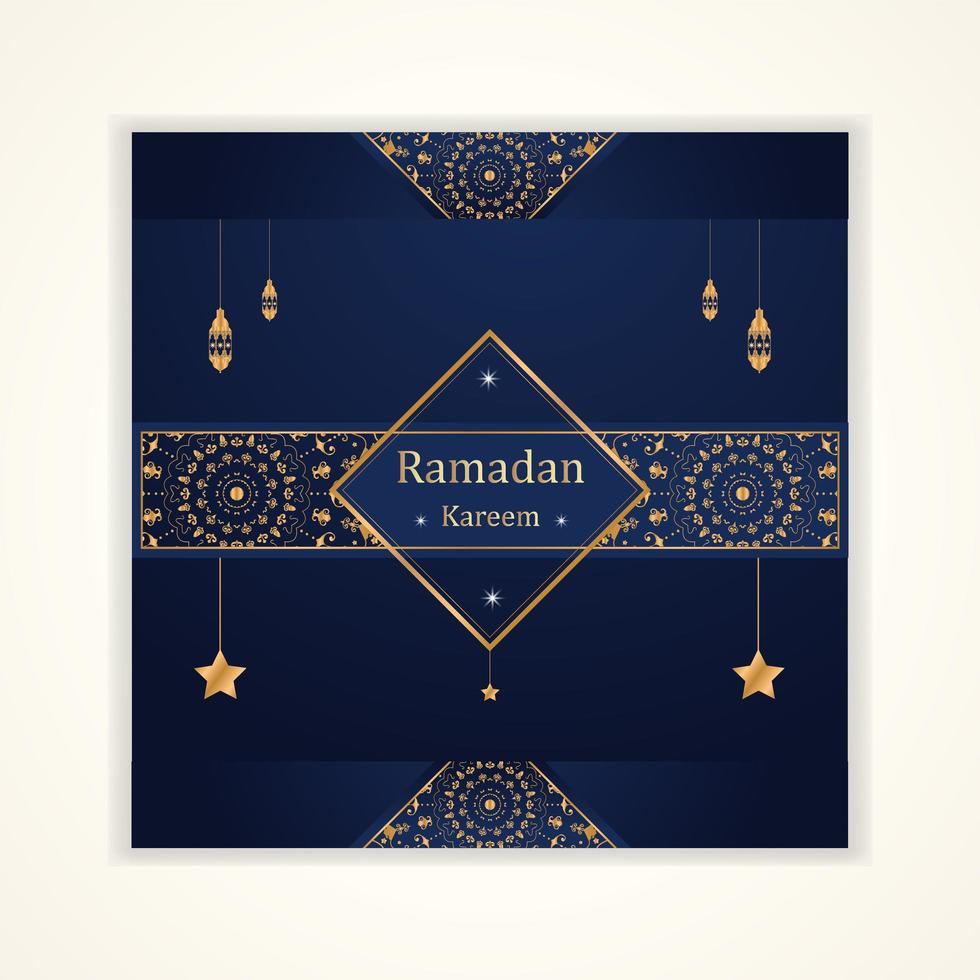 carte de ramadan kareem avec lanternes suspendues et étoiles vecteur