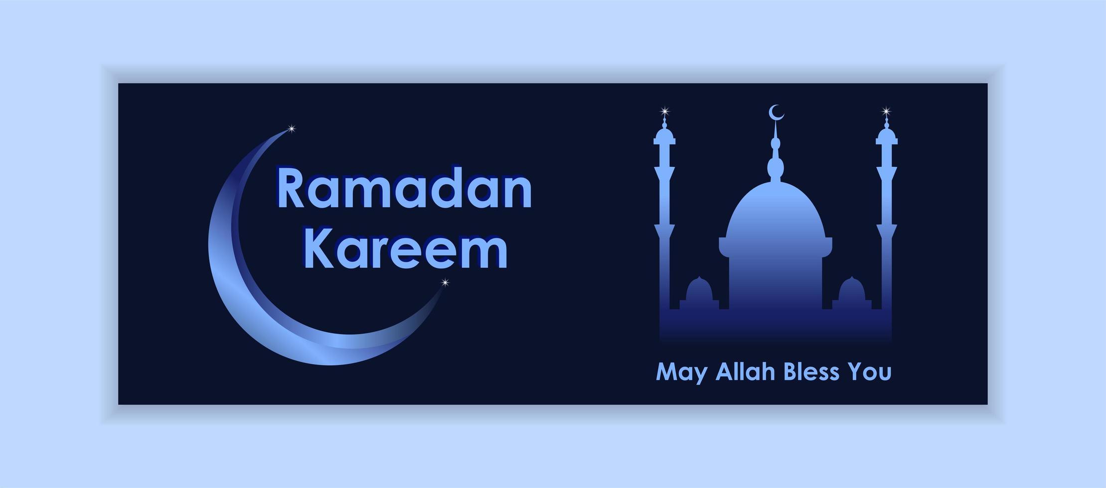 bannière de médias sociaux dégradé bleu ramadan kareem vecteur