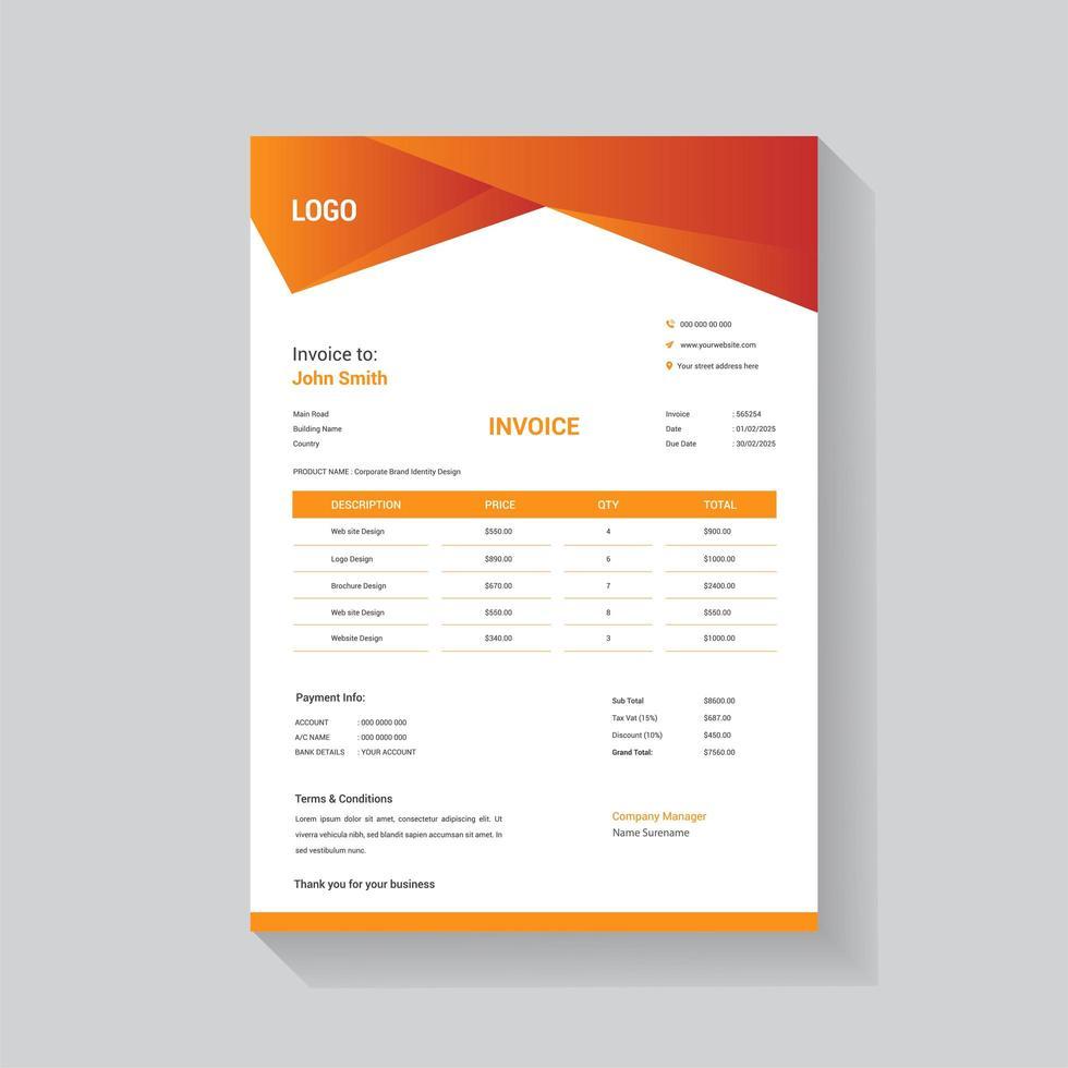 facture d'entreprise en-tête à angle dégradé orange vecteur