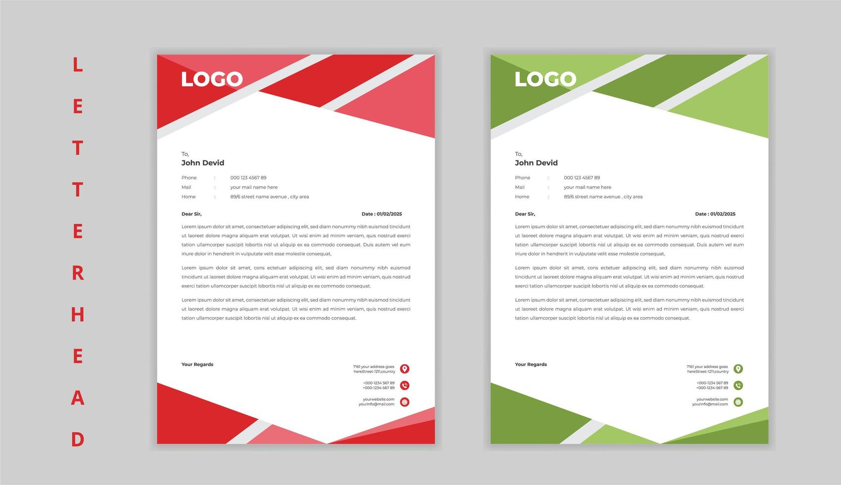 papier à en-tête d'entreprise forme angle rouge et vert vecteur