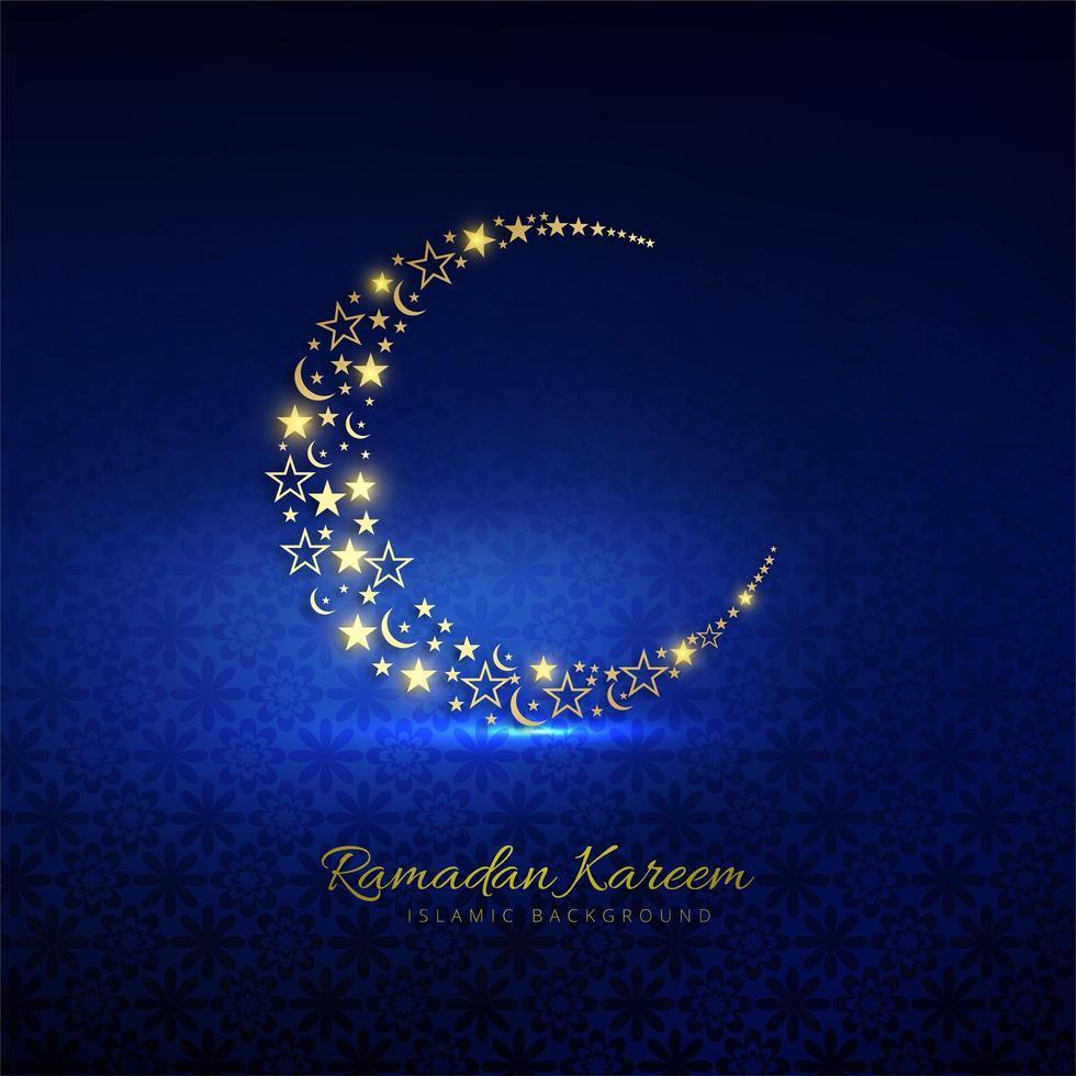 croissant de lune doré ramadan kareem avec étoiles sur bleu vecteur