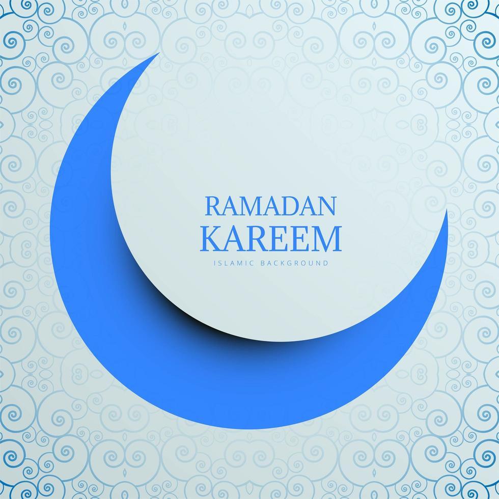 carte de ramadan kareem en papier découpé bleu lune vecteur