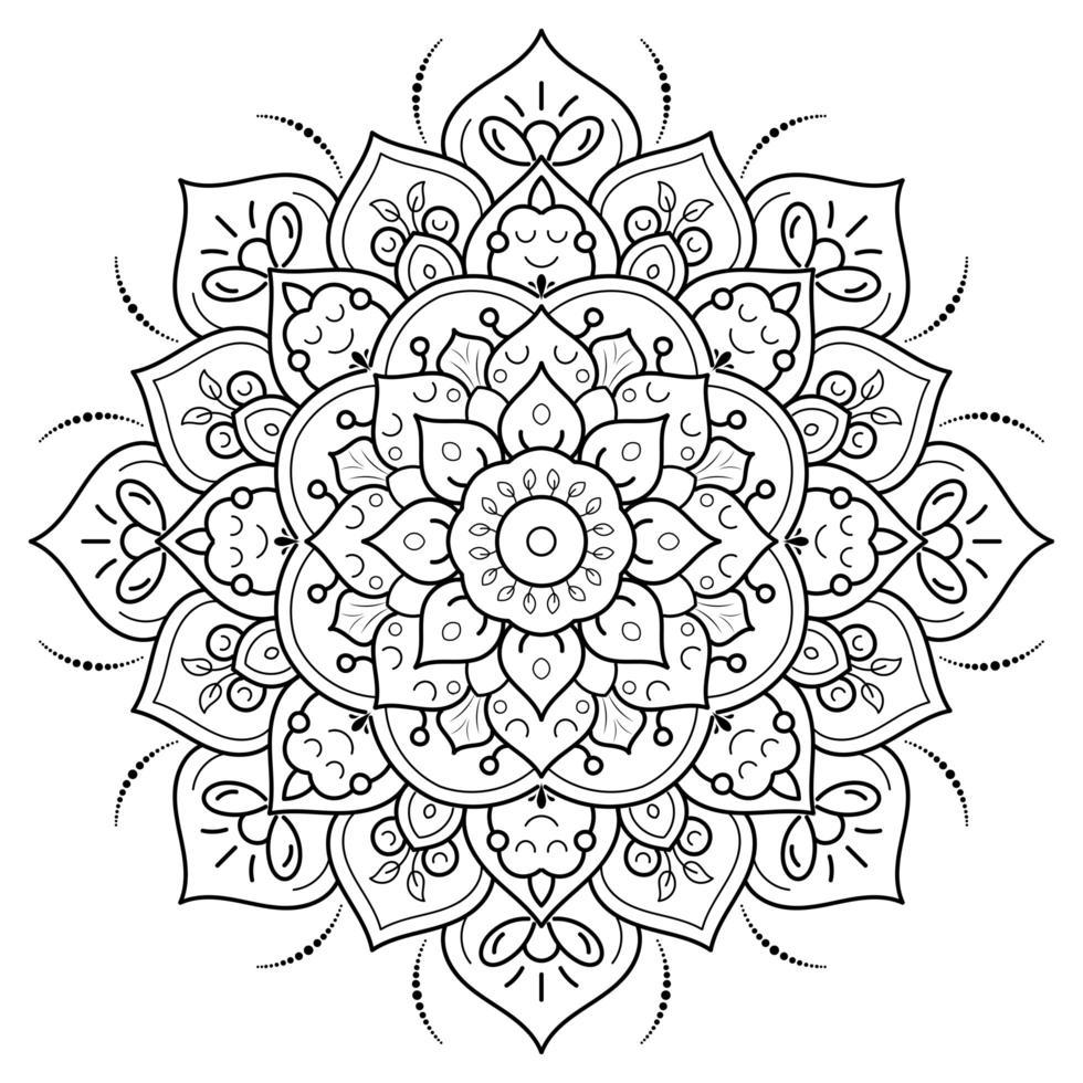 Coloriage mandala floral circulaire vecteur