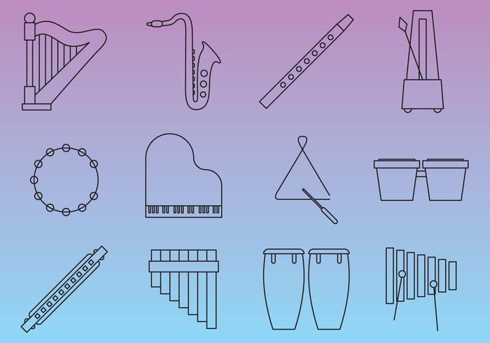 Instruments de musique en ligne mince vecteur