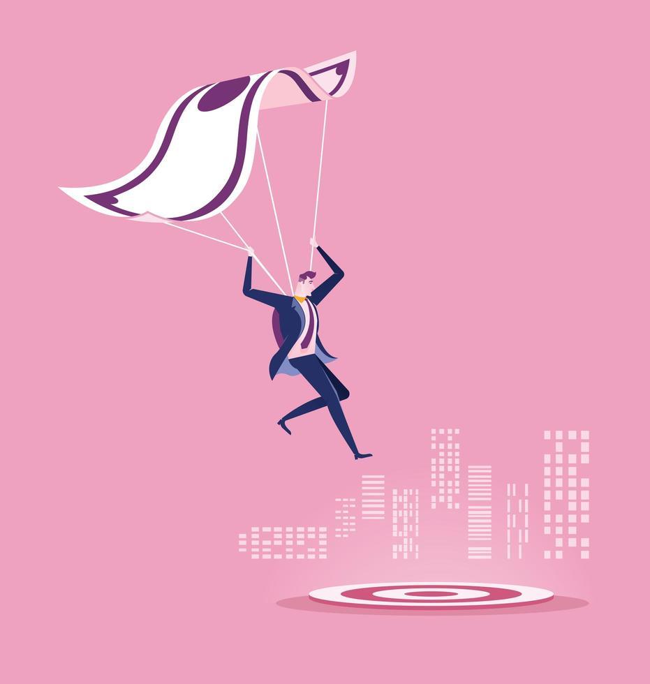 homme affaires, à, argent, parachute, atterrissage, sur, cible vecteur