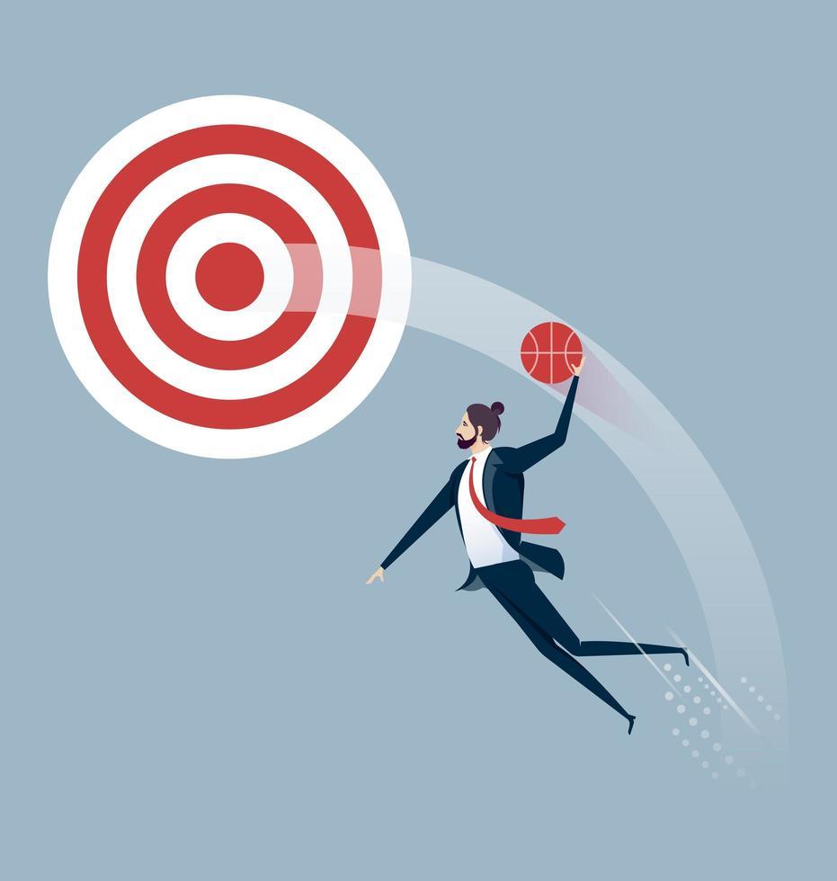homme d'affaires saute à la cible dunk vecteur