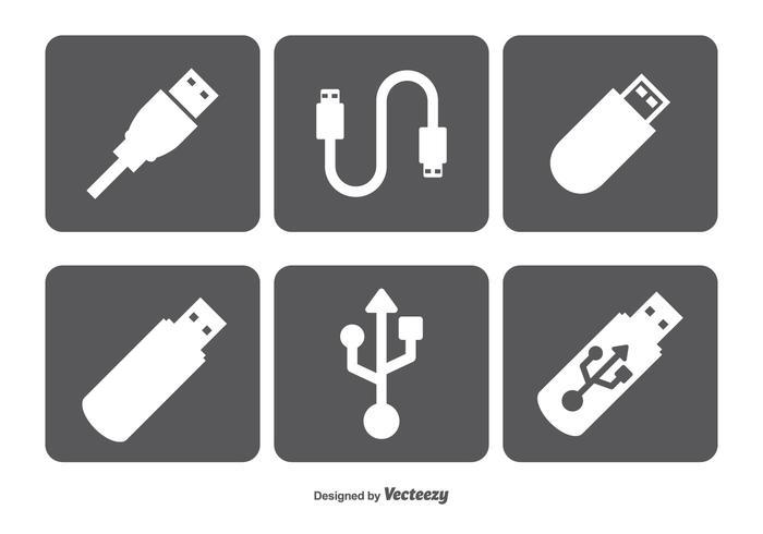 Ensemble d'icônes vectorielles USB vecteur