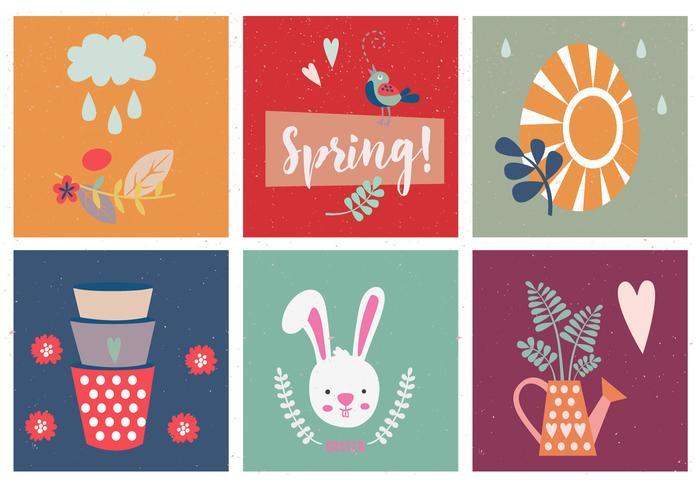 Ensemble de vecteur de printemps et de pâques