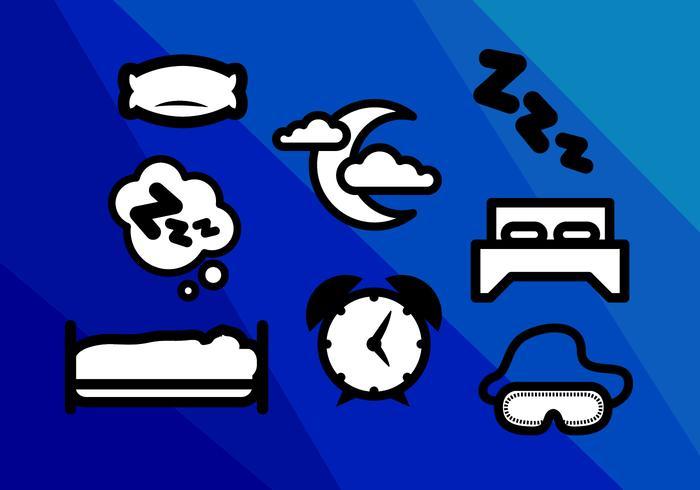 Vecteur d'icônes de nuit de sommeil de matelas