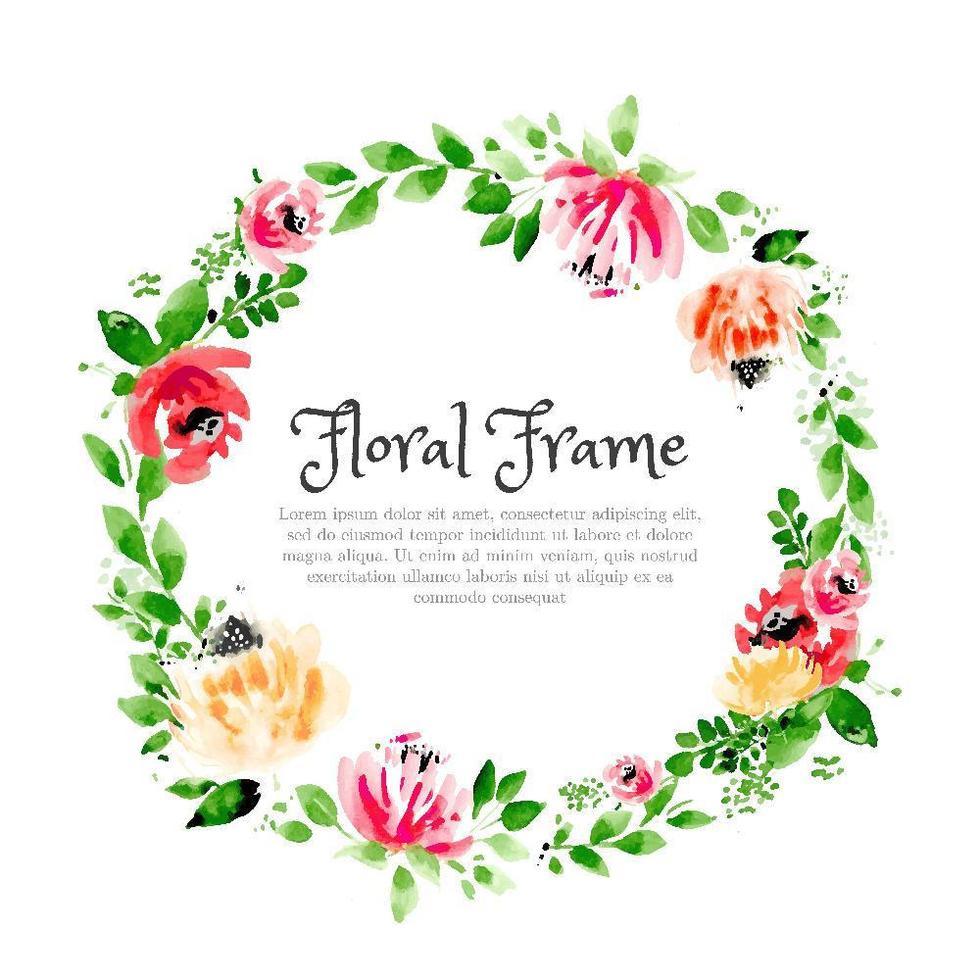 Couronne aquarelle rustique floral vecteur