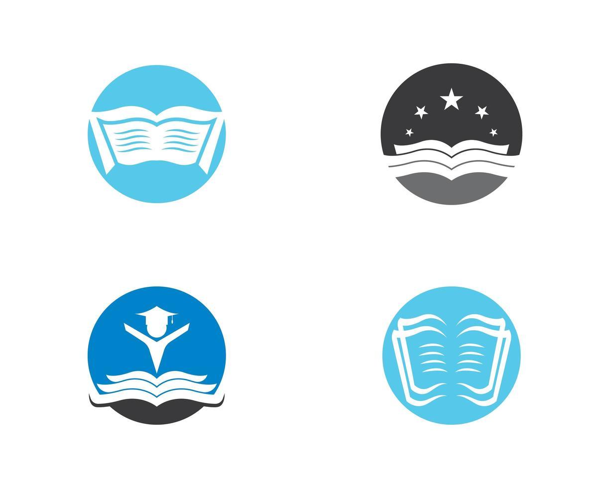 livres en cercles logo icon set vecteur