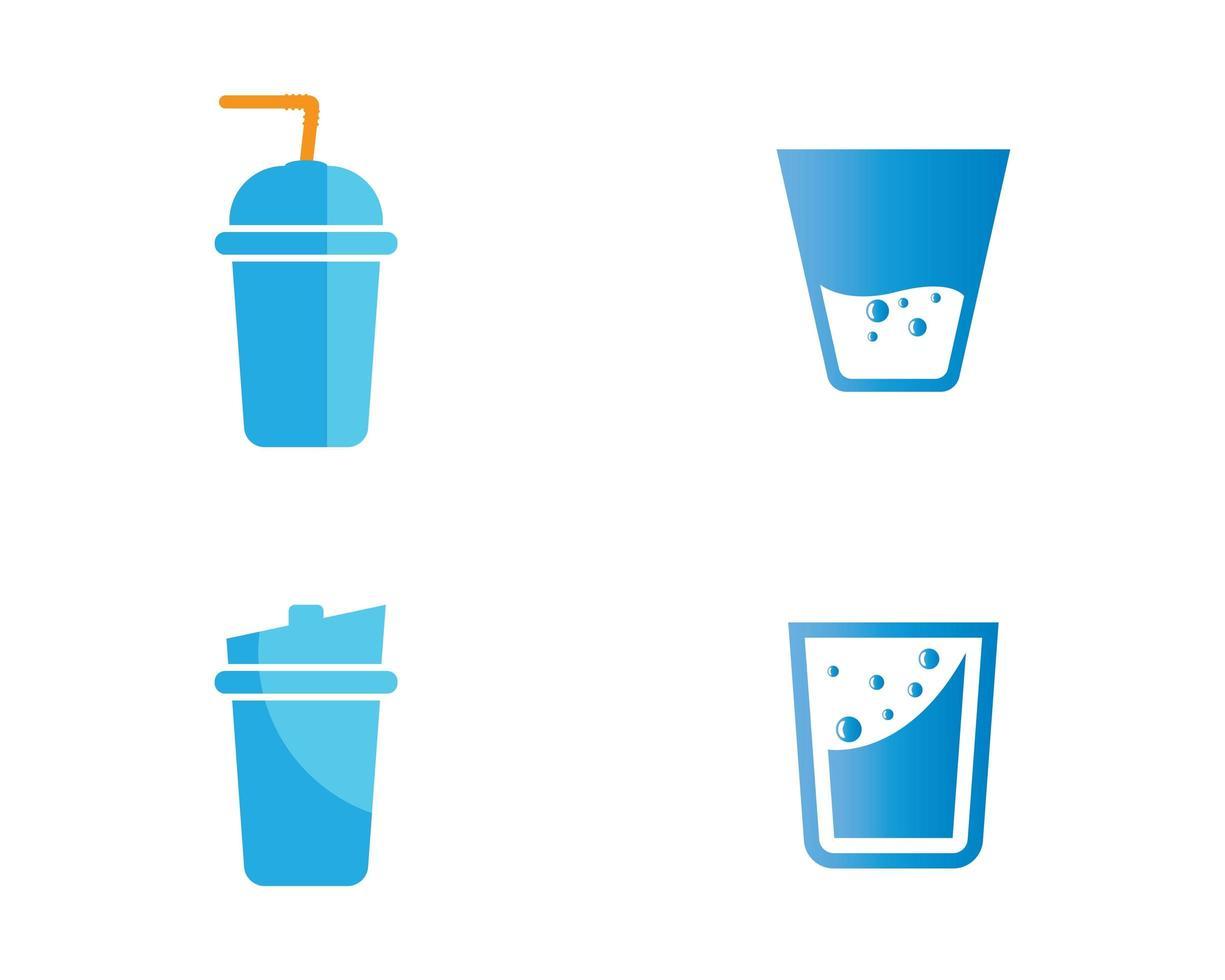 jeu d'icônes de verre à boire vecteur