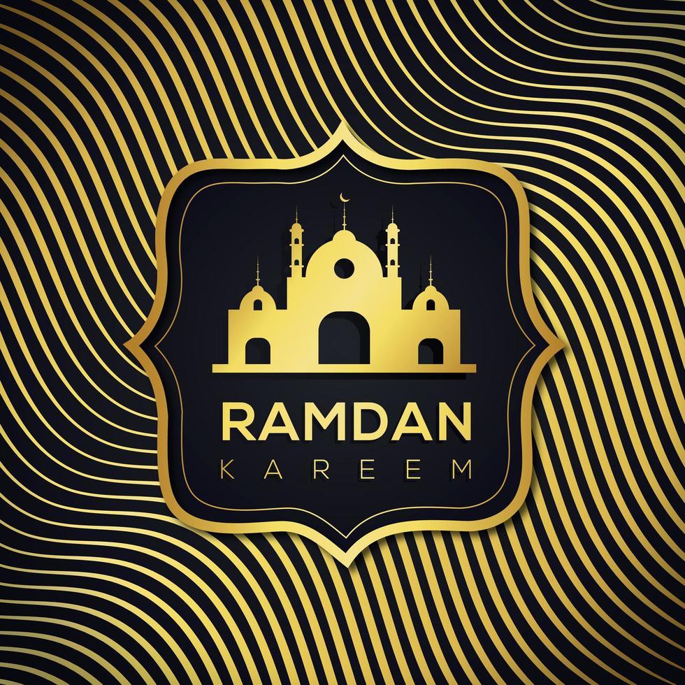 fond de ligne dorée ondulée islamique ramadan vecteur