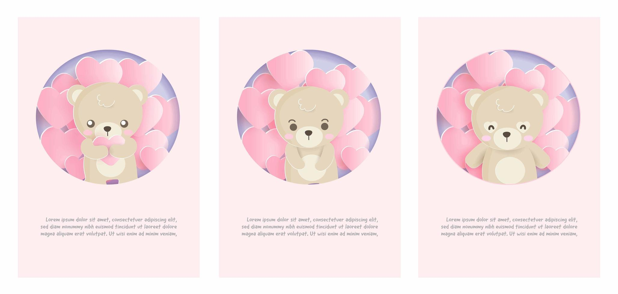 carte avec ours et ballons vecteur