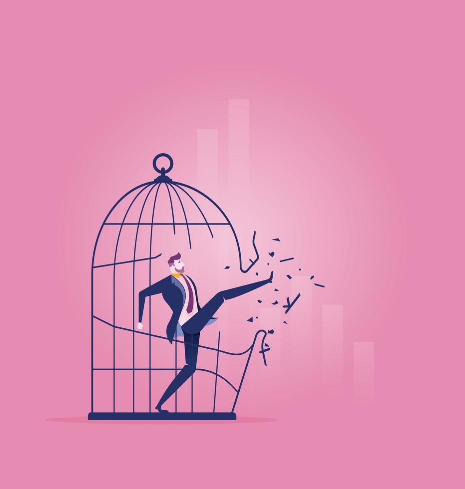 homme affaires, donner coup pied, sien, manière, dehors, de, cage vecteur