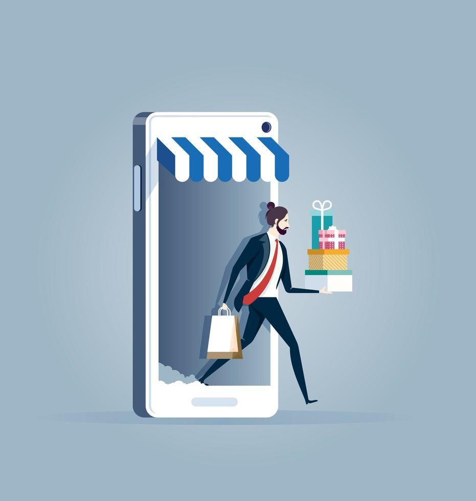 homme d'affaires sortant des achats de téléphone mobile vecteur