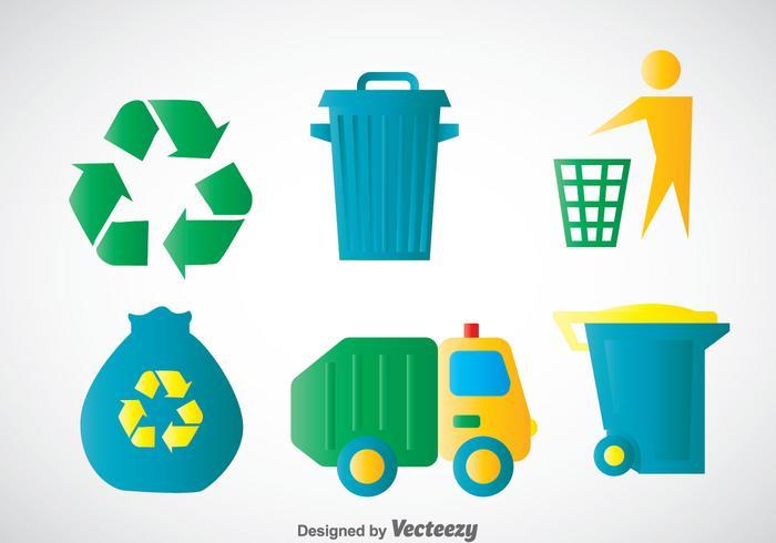 Vecteurs d'icônes des couleurs des ordures vecteur